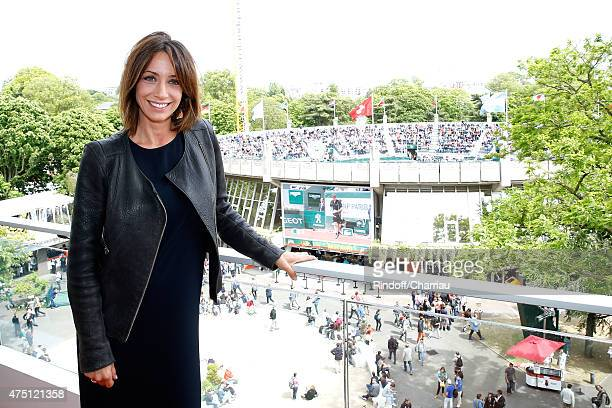Host Virginie Guilhaume poses at France Television french chanel studio during the 2015 Roland Garros French Tennis Open Day Six on May 29 2015 in...