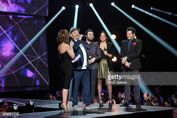 Host Virginie Guilhaume speak with Louis Chedid Joseph Chedid Anna Chedid and Matthieu Chedid during the 31st 'Victoires de la Musique' French Music...