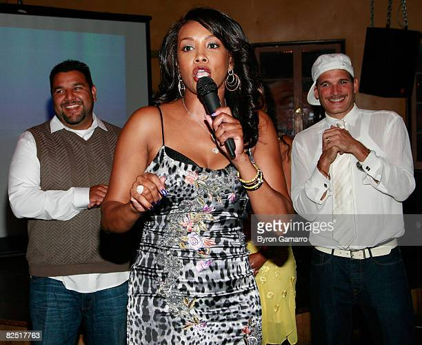 Host Vivica Fox creator Chris Abrigo and stylist Phillip Bloch at the premiere party for VH1's Glam God television show on August 21 2001 in Encino...