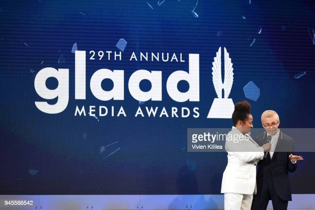 Host Wanda Sykes and JJ Totah speak onstage at the 29th Annual GLAAD Media Awards at The Beverly Hilton Hotel on April 12 2018 in Beverly Hills...