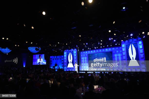 Host Wanda Sykes speaks onstage at the 29th Annual GLAAD Media Awards at The Beverly Hilton Hotel on April 12 2018 in Beverly Hills California