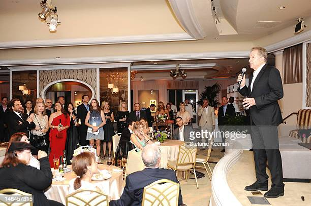 Host Warren Beatty speaks onstage during the 100th anniversary celebration of the Beverly Hills Hotel Bungalows supporting the Motion Picture...