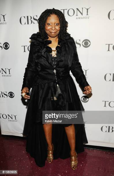 Host Whoopi Goldberg poses backstage during the 62nd Annual Tony Awards at Radio City Music Hall on June 15 2008 in New York City