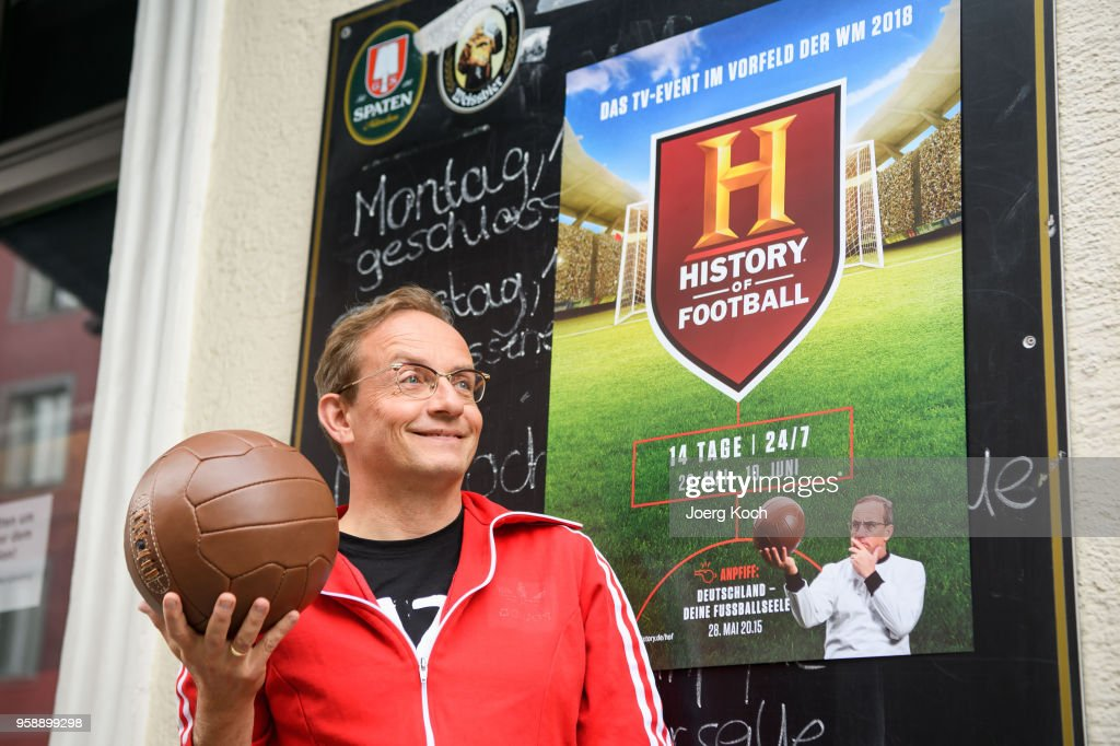 Host Wigald Boning attends the preview screening of the new documentaries 'Deutschland - Deine Fussballseele' and 'Magische WM-Momente - Tore, Traeume & Triumphe: 7 zu 1' as part of the TV event 'History of Football' by TV channel HISTORY at sports bar 'Stadion an der Schleissheimerstrasse' on May 15, 2018 in Munich, Germany.