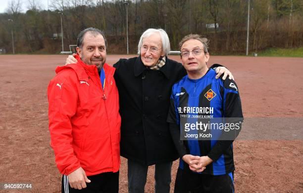 Host Wigald Boning legendary football coach Rudolf 'Rudi' Gutendorf and Syrian coach Zaghnoon Jamal are seen on set at 'TuS International Koblenz'...