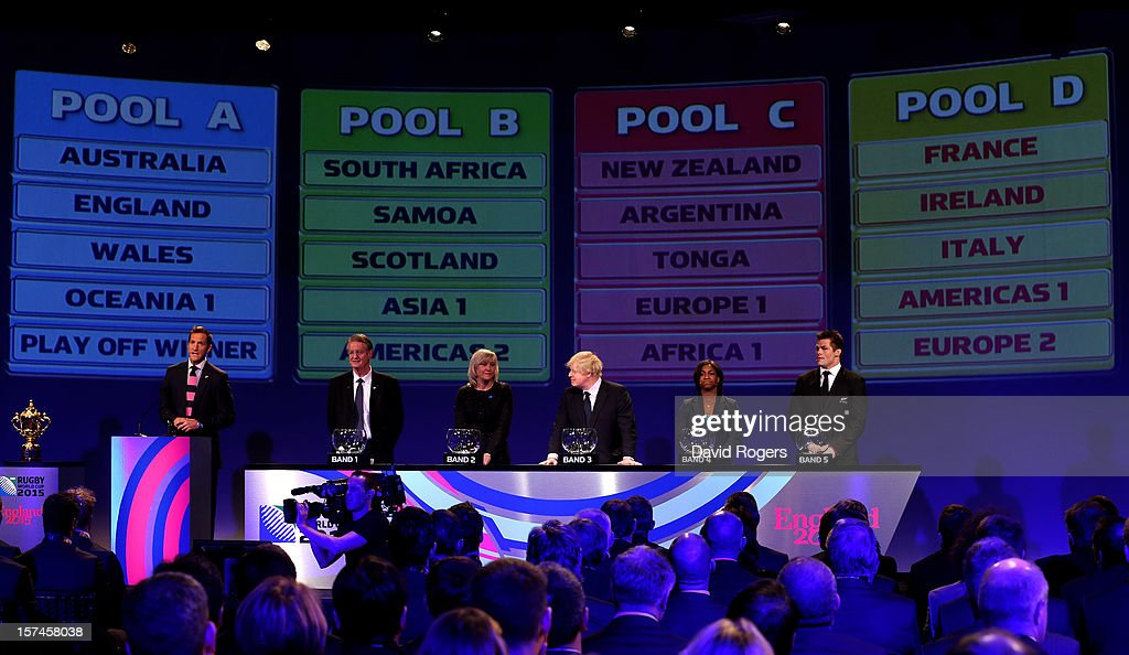 Host Will Greenwood, Bernard Lapasset the Chairman of Rugby World Cup Ltd, Debbie Jevans CEO of England Rugby 2015, Boris Johnson the Mayor of London, Maggie Alphonsi England Rugby 2015 Ambassador and Richie McCaw the Captain of the world champions New Zealand look on as pools are displayed during the IRB Rugby World Cup 2015 pool allocation draw at the Tate Modern on December 3, 2012 in London, England.