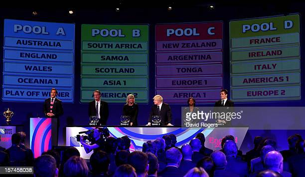 Host Will Greenwood Bernard Lapasset the Chairman of Rugby World Cup Ltd Debbie Jevans CEO of England Rugby 2015 Boris Johnson the Mayor of London...