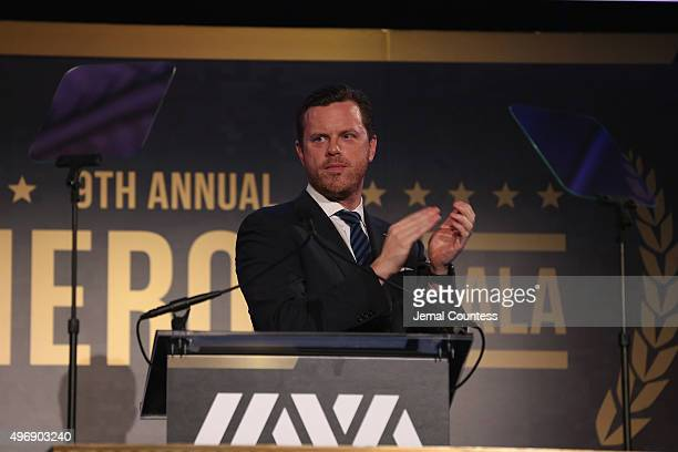 Host Willie Geist speaks on stage at the 9th Annual IAVA Heroes Gala at the Cipriani 42nd Street on November 12 2015 in New York City