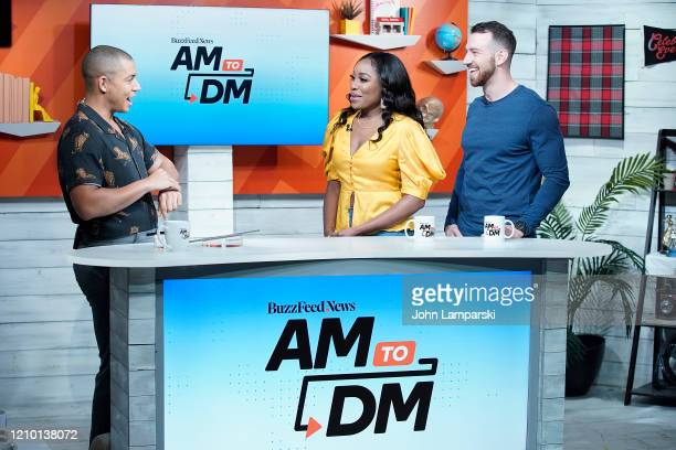 Host Zach Stafford interviews Lauren Speed and Cameron Hamilton during BuzzFeed's AM To DM on March 03 2020 in New York City