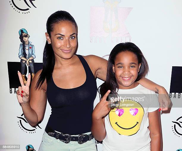 Host Zena Foster and daughter Zoey Babbs attend Baby Kaely's End of Summer Bash at The Mag Park on July 30 2016 in Burbank California