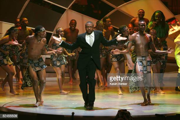 Host/actor Chris Tucker performs with dancers during the opening act at the 36th NAACP Image Awards at the Dorothy Chandler Pavilion on March 19 2005...