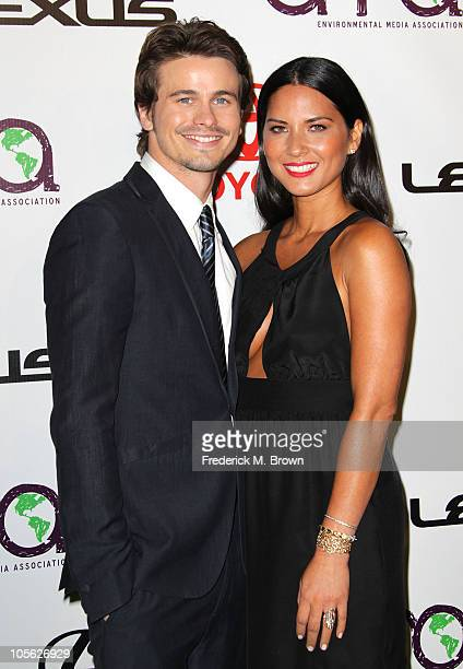 Host/actor Jason Ritter and host/actress Olivia Munn attend the 20th annual Enviornmental Media Association Awards at Warner Brothers Studios on...