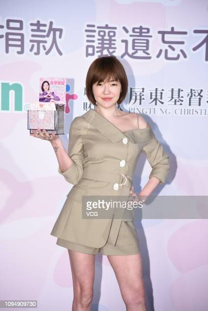 Host/actress Dee Hsu attends a charity fundraising activity on January 16, 2019 in Taipei, Taiwan of China.