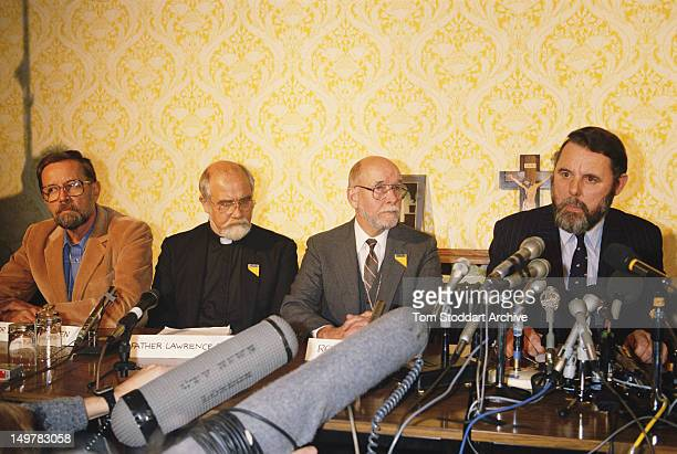 Hostage negotiator Terry Waite gives a press conference in Britain after facilitating the release of American hostages from Beirut, 17th November...