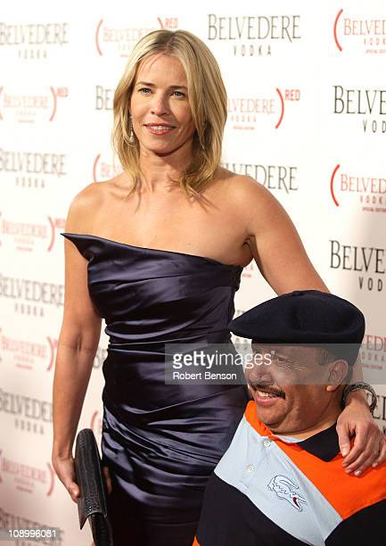 Host/author Chelsea Handler and TV personality Chuy Bravo arrive at the RED launches with Usher on February 10, 2011 in Hollywood, California.
