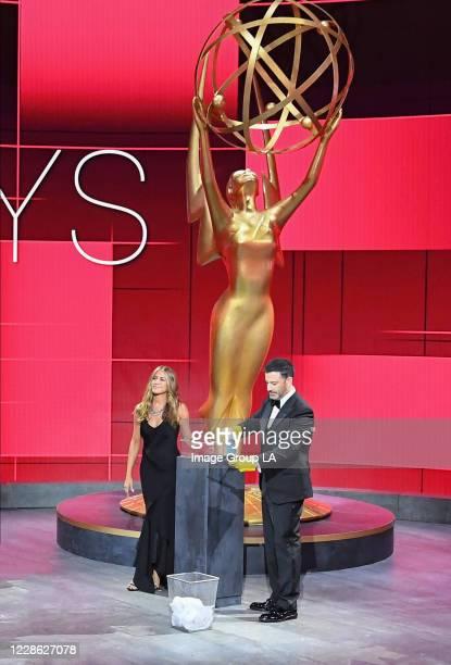 """Hosted by Jimmy Kimmel, the """"72nd Emmy® Awards"""" will broadcast SUNDAY, SEPT. 20 , on ABC. JENNIFER ANISTON, JIMMY KIMMEL"""