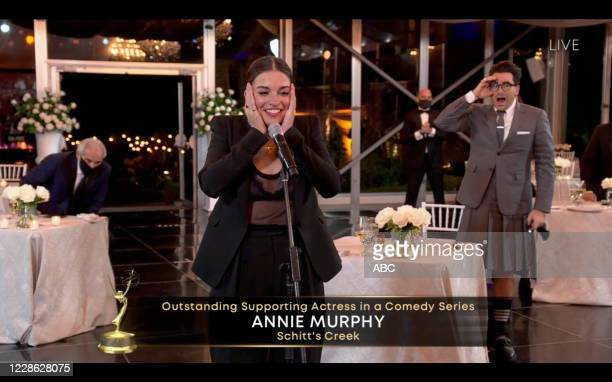 """Hosted by Jimmy Kimmel, the """"72nd Emmy® Awards"""" will broadcast SUNDAY, SEPT. 20 , on ABC. ANNIE MURPHY"""