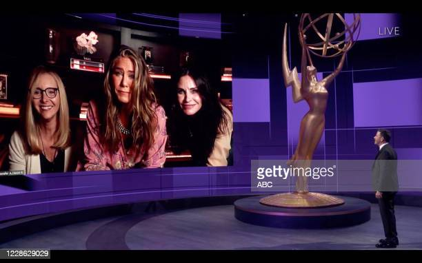 "Hosted by Jimmy Kimmel, the ""72nd Emmy® Awards"" will broadcast SUNDAY, SEPT. 20 , on ABC. LISA KUDROW, JENNIFER ANISTON, COURTENEY COX JIMMY KIMMEL"