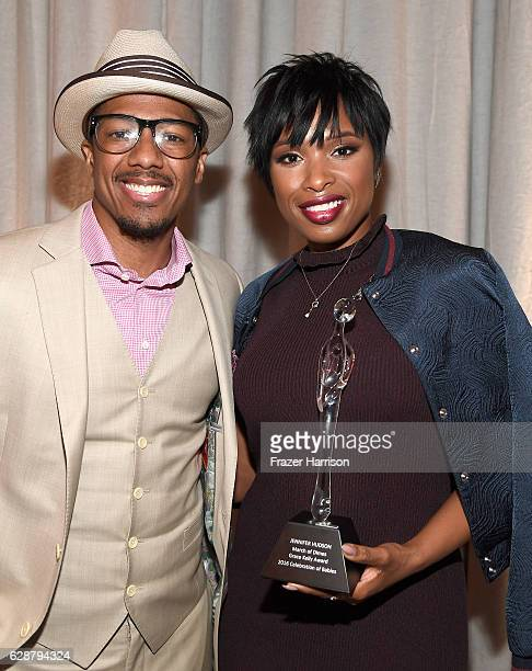 Host/emcee Nick Cannon and Grace Kelly Award Winner Jennifer Hudson pose with award during 2016 March of Dimes Celebration of Babies at the Beverly...