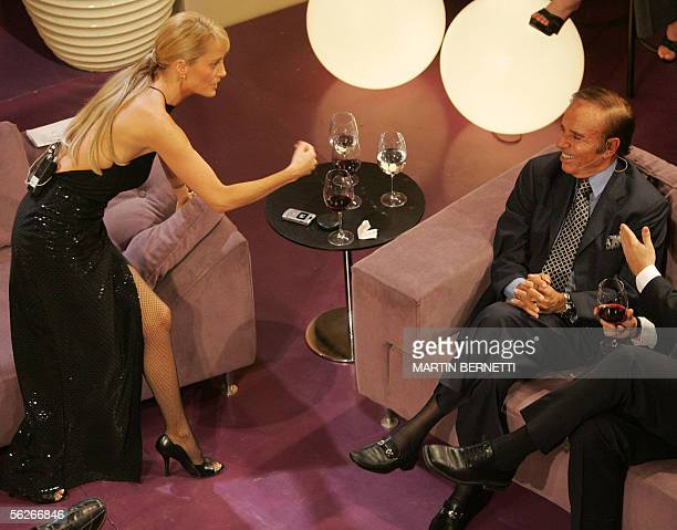 Hostess and ex Miss Universe Cecilia Bolocco interviews former president of Argentina and her husband Carlos Menem during the talkshow 'La Noche de...