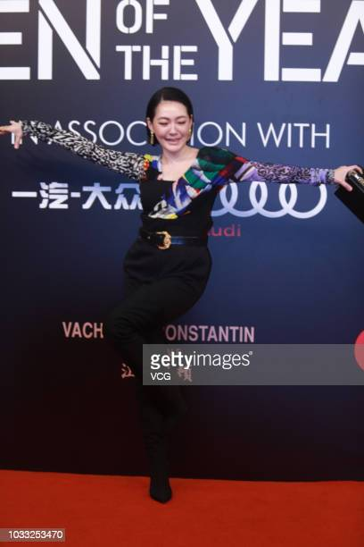 Hostess Dee Hsu poses on the red carpet of 2018 GQ Men of the Year awards ceremony on September 8 2018 in Shanghai China