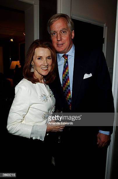 Hostess Linda Bruckheimer poses with Robert Trump at the opening of architect and designer Greg Jordan's Los Angeles Studio and Shop on January 12...
