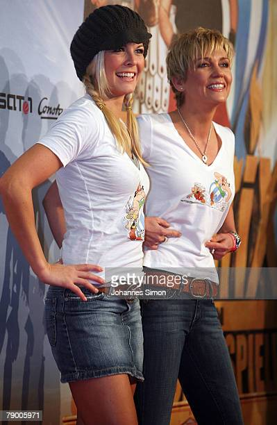 """Hostess Tina Kaiser and actress Alexandra Rietz pose during the movie premiere of """"Asterix at the Olympic Games"""" January 15, 2008 in Munich, Germany."""