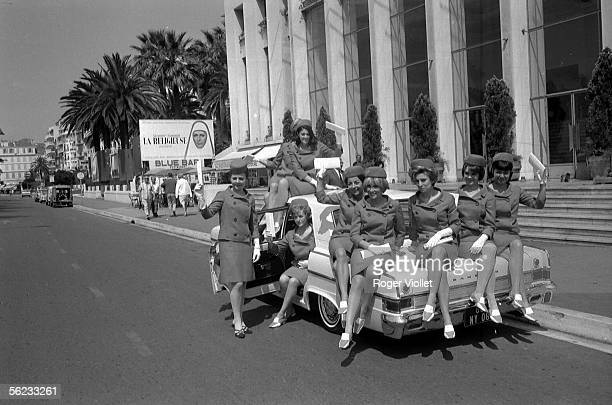 Hostesses in front of the Cannes Film Festival Palais 1966 HA193730