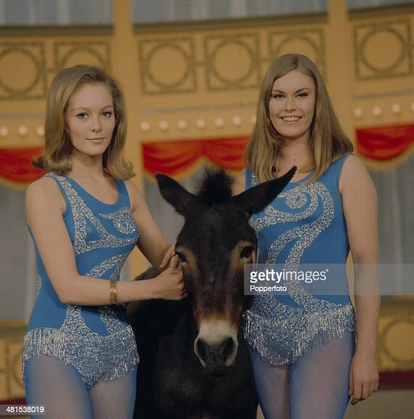 1968 Hostesses Jenny Hanley and Frances Dean posed on the set of 'The Hippodrome Show' on television in 1968