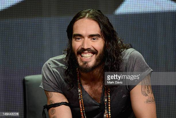 """Host/Executive Producer Russell Brand speaks onstage at the """"Brand X with Russell Brand"""" panel during the FX portion of the 2012 Summer TCA Tour on..."""