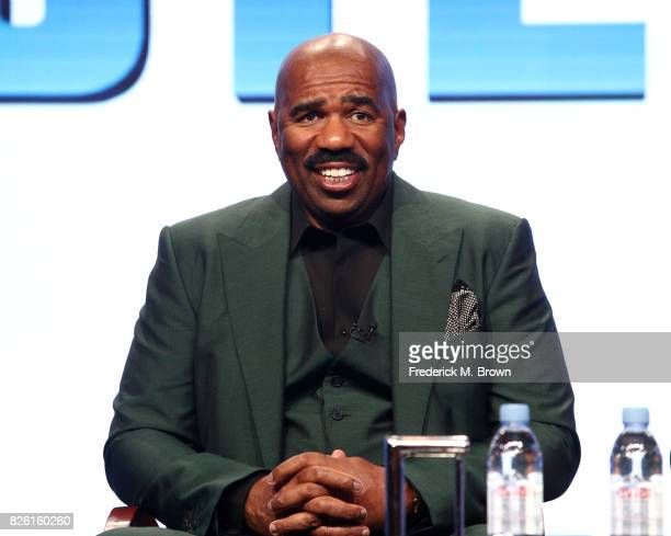 Host/executive producer Steve Harvey of 'STEVE' speaks onstage during the NBCUniversal portion of the 2017 Summer Television Critics Association...