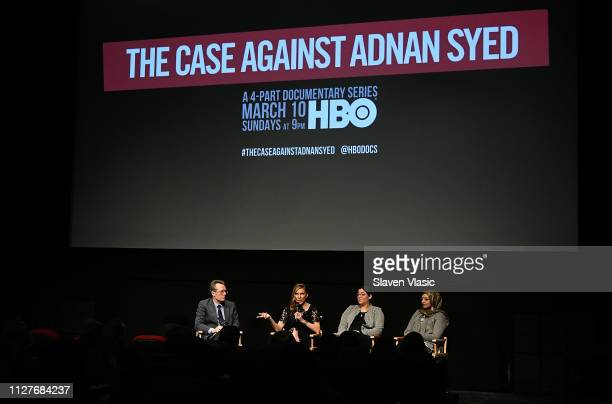 Host/film producer Thom Powers director/executive producer Amy Berg participant Laura Estrada Sandoval and participant/producer Rabia Chaudry attend...