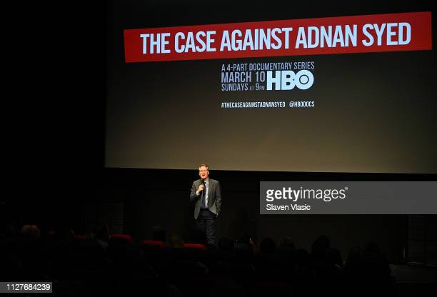 Host/film producer Thom Powers introduces NY premiere of HBO's The Case Against Adnan Syed at PURE NON FICTION on February 26 2019 in New York City
