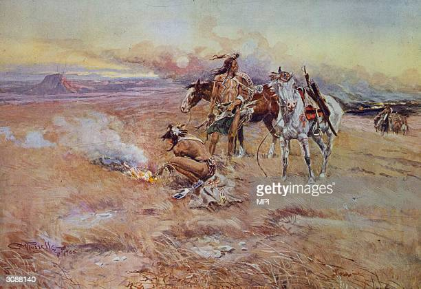 Hostile Blackfoot Indians setting fire to the Crow Buffalo range Original Artwork Painting by Charles Marion Russell