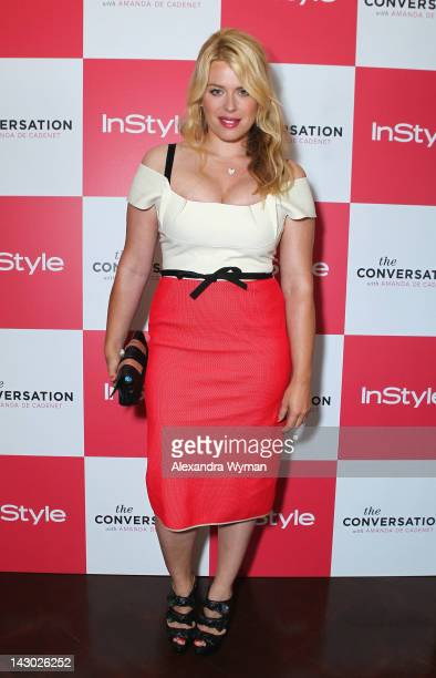 Host/photographer Amanda de Cadenet arrives at InStyle's celebration and the launch of 'The Conversation with Amanda De Cadenet' at a private...