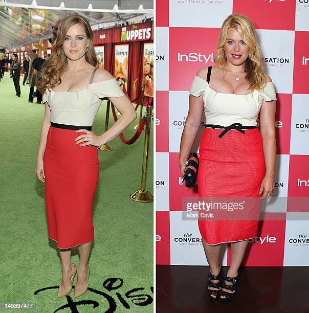In this composite image a comparison has been made between Amy Adams and Amanda de Cadenet for a Celebrity Same Dresses feature Actress Amy Adams...