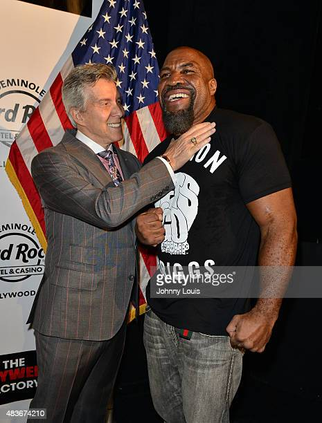 Host/ring announcer Michael Buffer and Twotime world heavyweight champion Shannon The Cannon Briggs attend Shannon Briggs vs Mike Marrone Press...