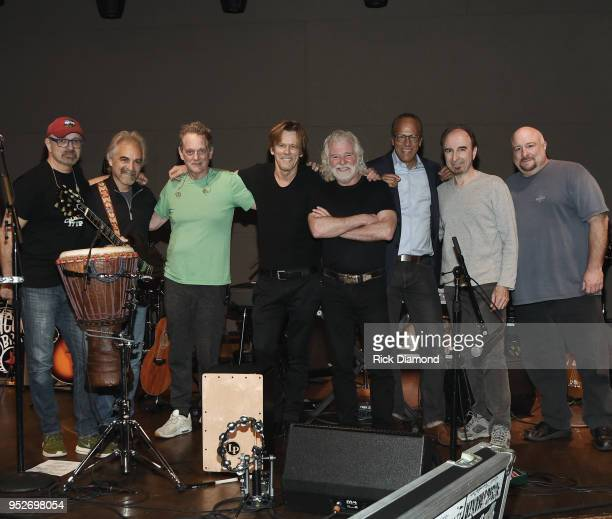 Host/Rolling Stones Keyboardist Chuck Leavell and Lester Holt NBC Nightly News/Dateline with Bacon Brothers Band members L/R Frank Vilardi Ira Siegel...