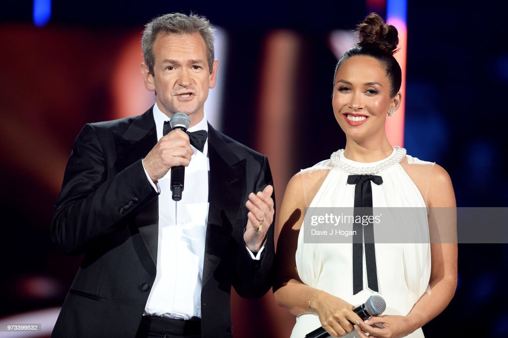 Hosts Alexander Armstrong (L) and Myleene Klass speak on stage during the 2018 Classic BRIT Awards held at Royal Albert Hall on June 13, 2018 in London, England.