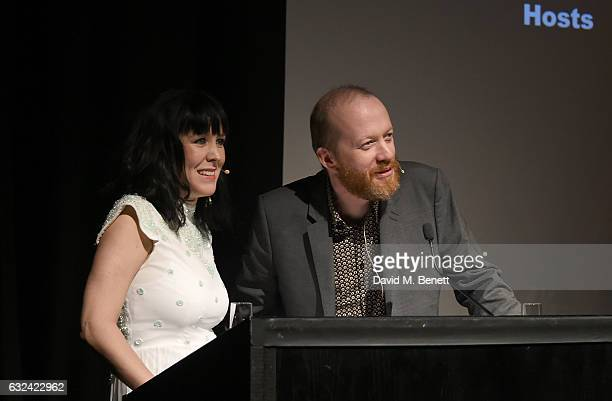 Hosts Alice Lowe and Steve Oram on stage at The London Critics' Circle Film Awards at the May Fair Hotel on January 22 2017 in London England