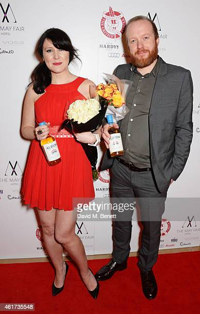 Hosts Alice Lowe and Steve Oram pose in the Winners Room at The London Critics' Circle Film Awards at The Mayfair Hotel on January 18 2015 in London...