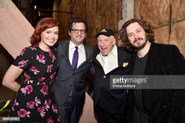 TCM hosts Alicia Malone and Ben Mankiewicz and directors Mel Brooks and Edgar Wright attend the screening of 'High Anxiety' during the 2017 TCM...