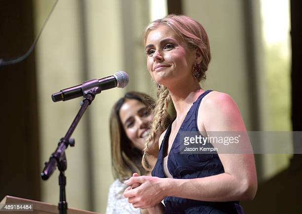 Hosts Ana Ortiz and Brianna Brown speak onstage during the 4th Annual Women Making History Brunch presented by the National Women's History Museum...