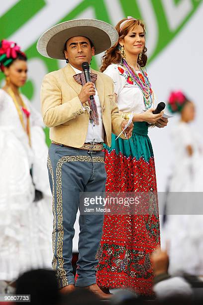 TV hosts Anette Michel and Adal Ramones during the concert of the 199th anniversary of the Mexican Independence at Zocalo on September 15 2009 in...