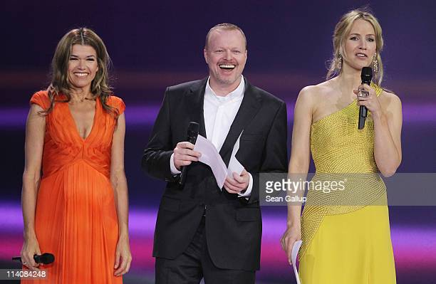 Hosts Anke Engelke, Stefan Raab and Judith Rakers lead a dress rehearsal the day before the second semi-finals of the Eurovision Song Contest 2011 on...