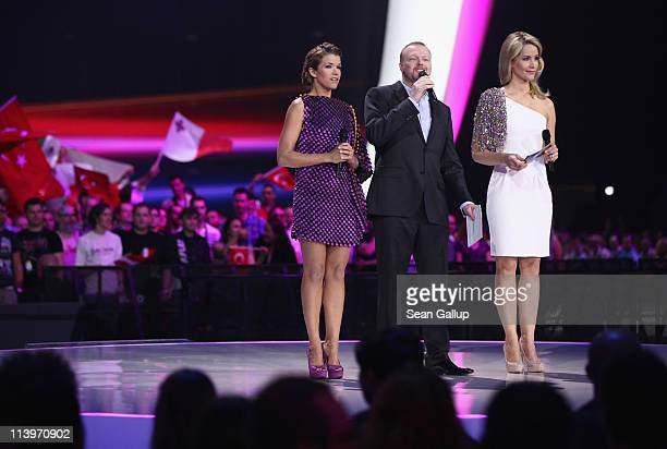Hosts Anke Engelke, Stefan Raab and Judith Rakers lead the first semi-finals of the Eurovision Song Contest 2011 on May 10, 2011 in Duesseldorf,...