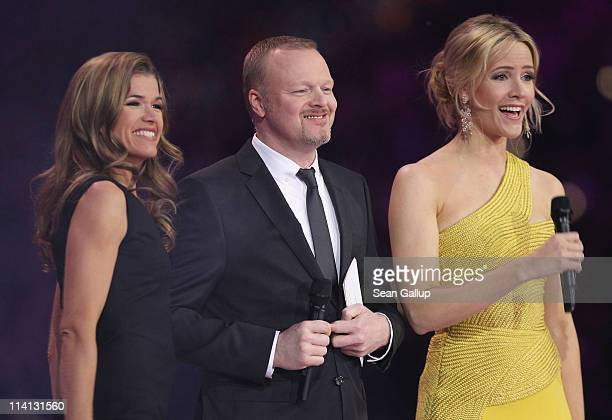 Hosts Anke Engelke, Stefan Raab and Judith Rakers lead the second semi-finals of the Eurovision Song Contest 2011 on May 12, 2011 in Duesseldorf,...