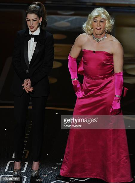 Hosts Anne Hathaway and James Franco perform onstage during the 83rd Annual Academy Awards held at the Kodak Theatre on February 27 2011 in Hollywood...