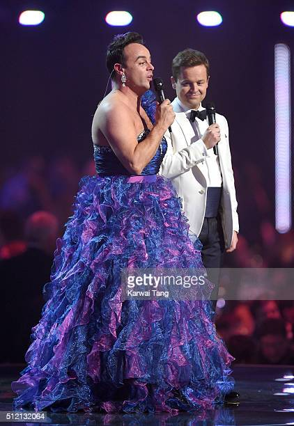 Hosts Anthony McPartlin and Declan Donnelly on stage at the BRIT Awards 2016 at The O2 Arena on February 24 2016 in London England