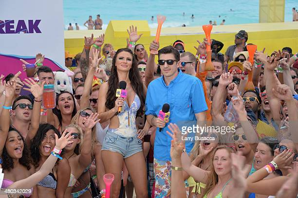 Hosts April Rose and Andrew Schulz host mtvU Spring Break 2014 at the Grand Oasis Hotel on March 21 2014 in Cancun Mexico mtvU Spring Break starts...